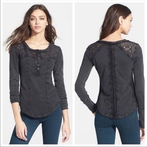Free People Gold Coast Henley Charcoal Lace Tee-S